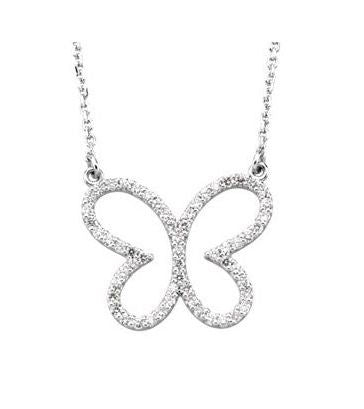 White Gold Diamond  Butterfly Necklace