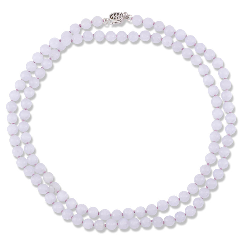Natural Lavender Jade Bead Necklace