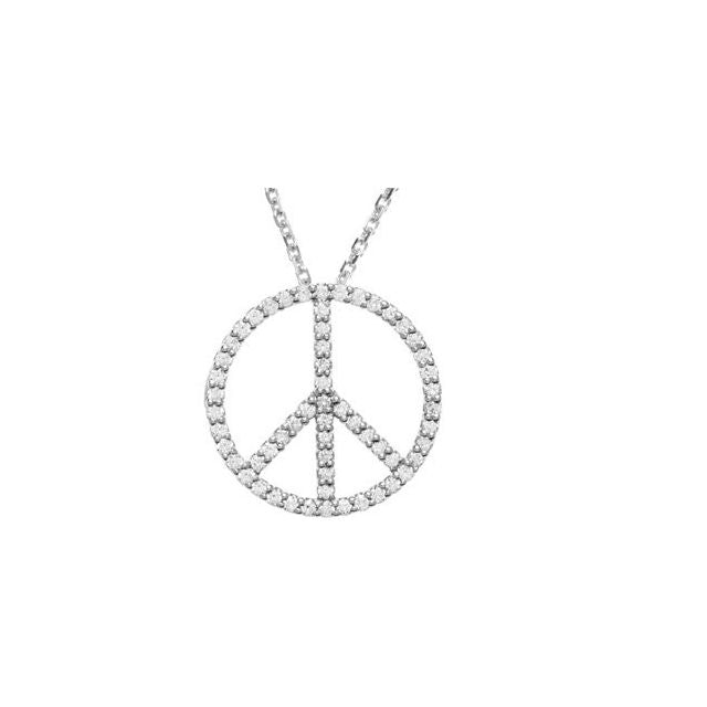 White Gold Diamond Peace Sign Pendant Necklace