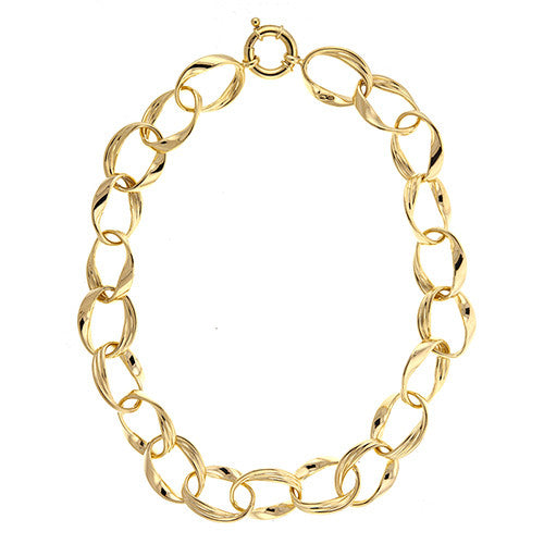 14K Yellow Gold Swirl Link Necklace