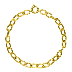 Gold Textured Link Necklace