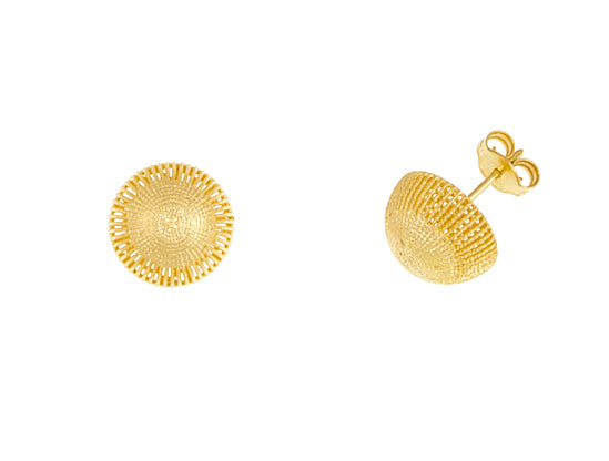 14K Yellow Gold Half-Dome Earrings