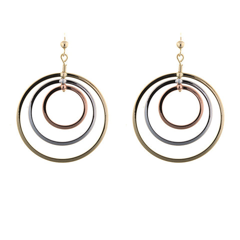 14K Rose, Yellow and White Gold Earrings