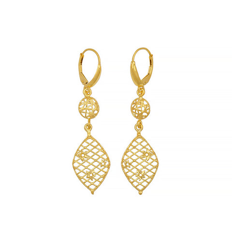 14k White Or Yellow Gold Drop Earrings
