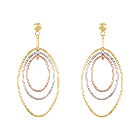 14K Rose, White and Yellow Hoop Earrings