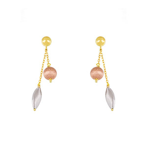 14k Yellow, Rose and White Gold Dangle Earrings, SOLD