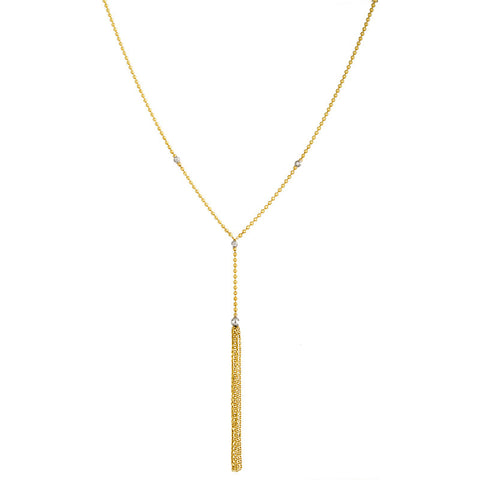 14K Yellow Gold Textured Bar Necklace