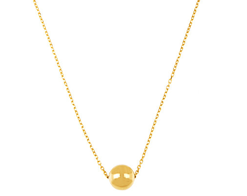 Yellow or White Gold Ball Pendant on Chain, SALE