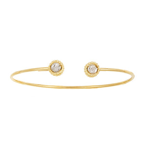 14k Yellow and White Gold Bangle Bracelet, SOLD