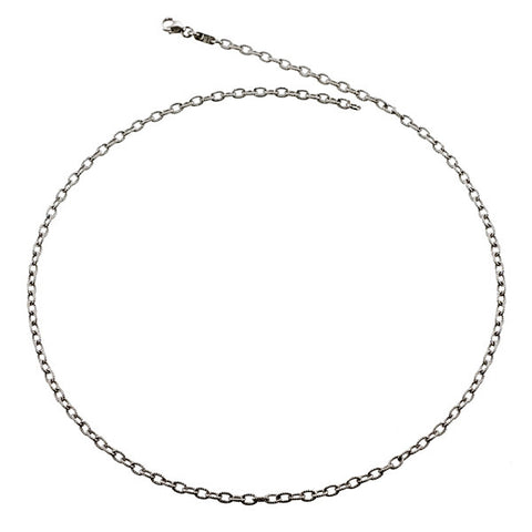 14k White Gold Textured Cable Link Chain, SOLD OUT