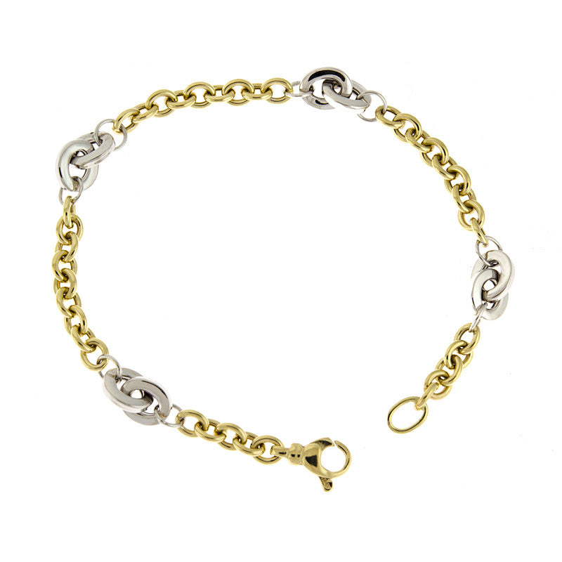 14K Yellow and White Gold Link Bracelet