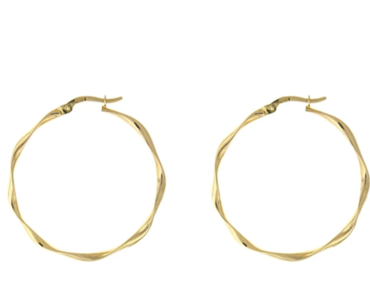 14K Twisted Gold Hoop Earrings