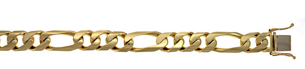 14K Yellow Gold Solid Figaro Link Bracelet, SOLD