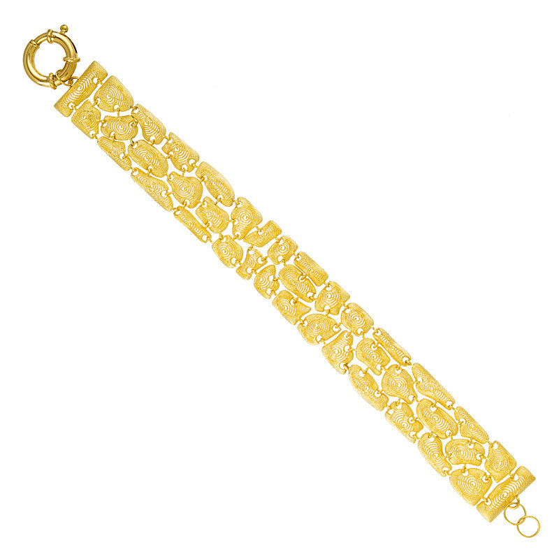14k Yellow Gold Textured Link Bracelet