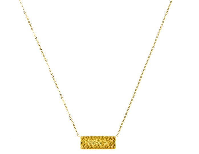 14K Yellow Gold Textured Bar Necklace, SOLD