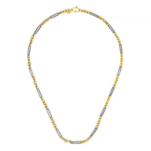 Yellow and White Gold Link Chain Necklace, SOLD