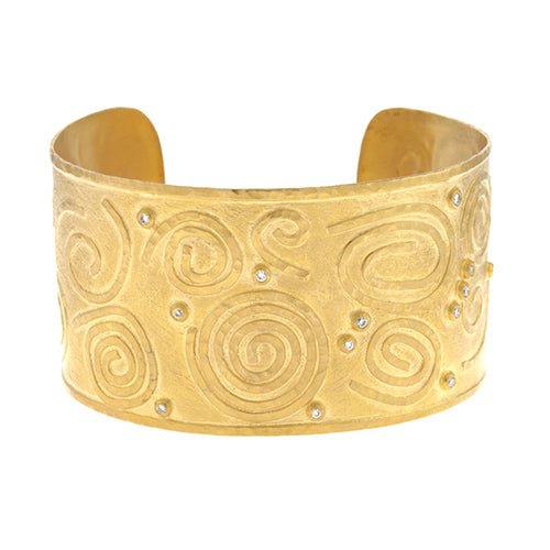 Textured Gold Diamond Cuff Bracelet, SUPER SALE