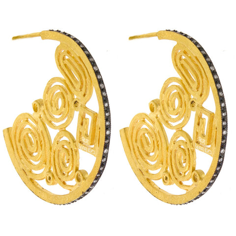 18K Gold Diamond Hoops