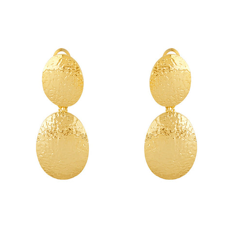 14K Hammered Gold Earrings