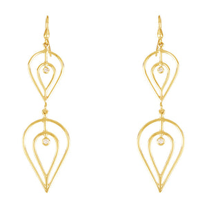 Gold and Diamond Dangle Earrings