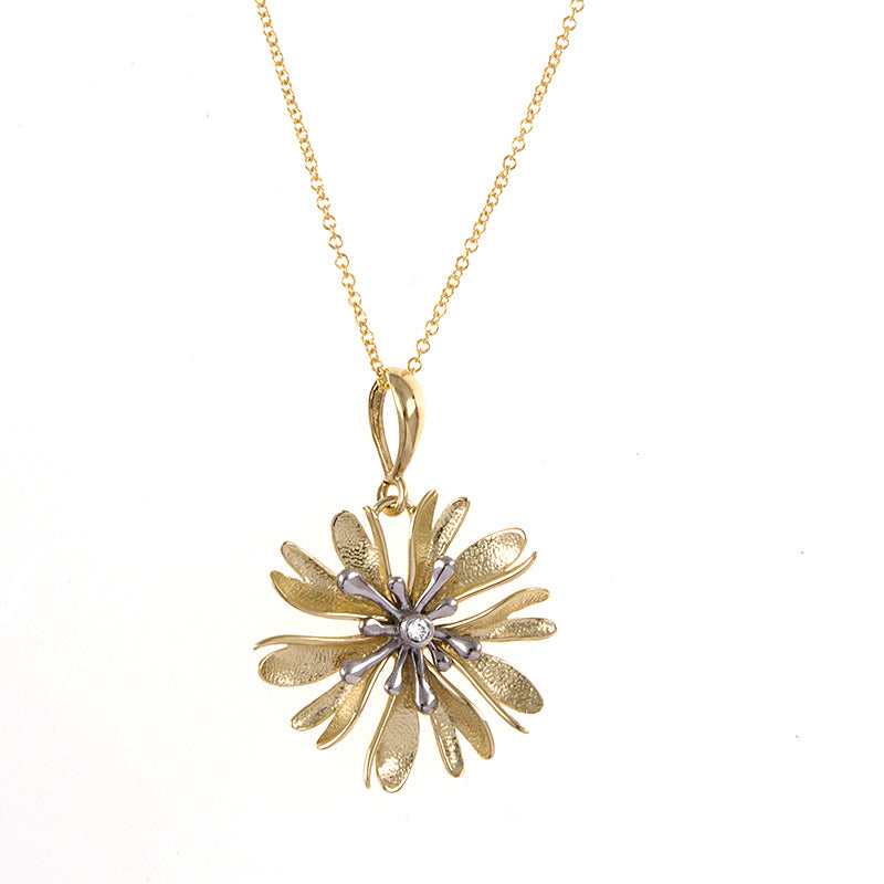 Yellow and White Gold Flower Pendant