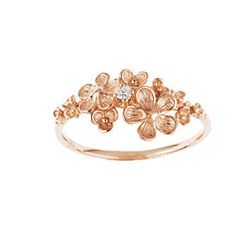 Italia Diamond Flower Ring in Rose, White or Yellow Gold