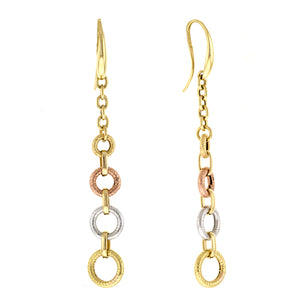 14K Yellow, Rose and White Gold Drop Earrings