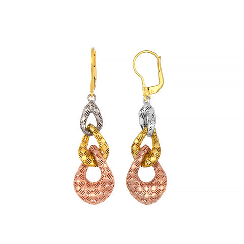 14K White, Yellow and Rose Gold Earrings