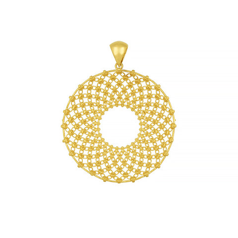 14K Gold Flower Pendant with Diamond on Chain