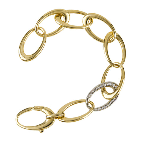 14K Gold Link Bracelet with Diamond Link