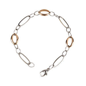 White and Rose Gold Link Bracelet, SALE