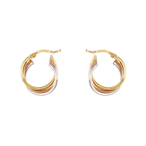 14k Yellow, Rose and White Gold Dangle Earrings