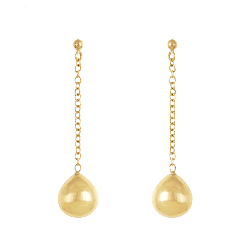 14k Yellow Gold Chain and Ball Earrings