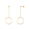 14K Gold Drop Circle Earrings