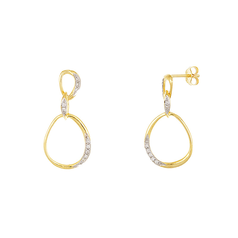 14K Gold and Diamond Drop Earrings
