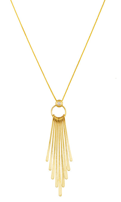 Gold Diamond Drop Pendant Necklace