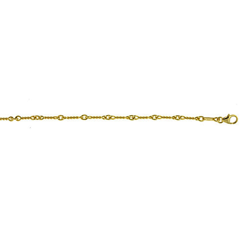 14k Yellow Gold Twisted Solid Link Chain