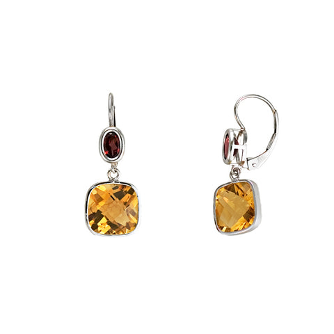 Citrine and Garnet Earrings