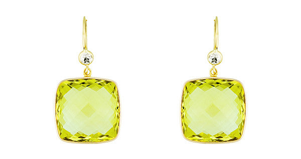 Lemon Quartz Earrings, SOLD