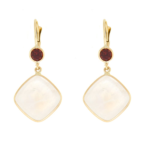 Garnet and Moonstone Earrings