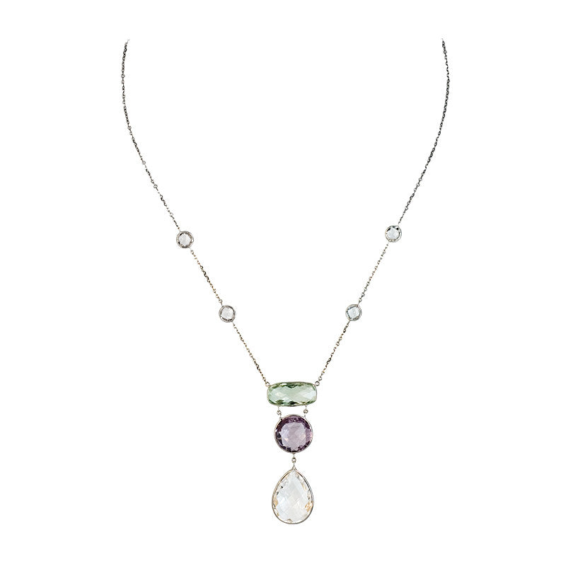 Green and Pink Amethyst with Quartz Crystal Necklace