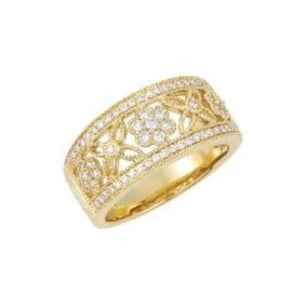 Diamond Floral Open Band, SOLD