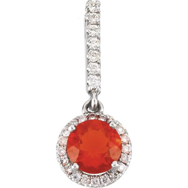Fire Opal and Diamond Pendant, SALE, SOLD