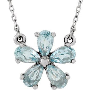 White Gold Blue Topaz Flower Pendant