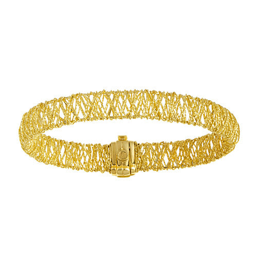 18K Yellow Gold Woven Mesh Bracelet, SOLD