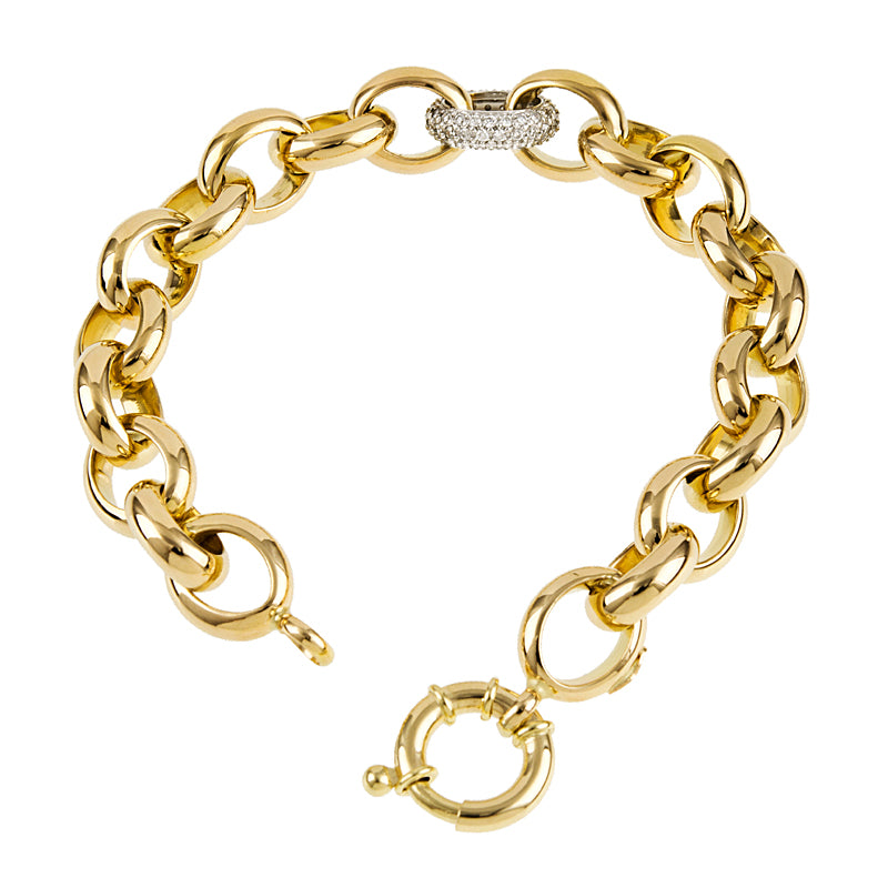 18K Yellow Gold Diamond Link Bracelet