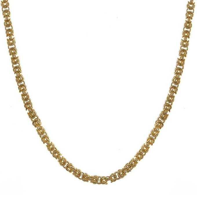 14K Yellow Gold Byzantine Weave Chain