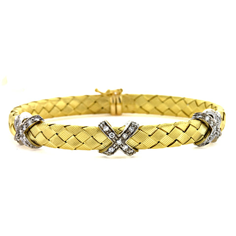 Italian 18k Woven Gold Diamond Cuff Bracelet, SOLD