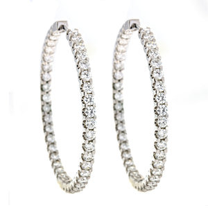 18K White Gold Diamond Hoop Earrings, SOLD