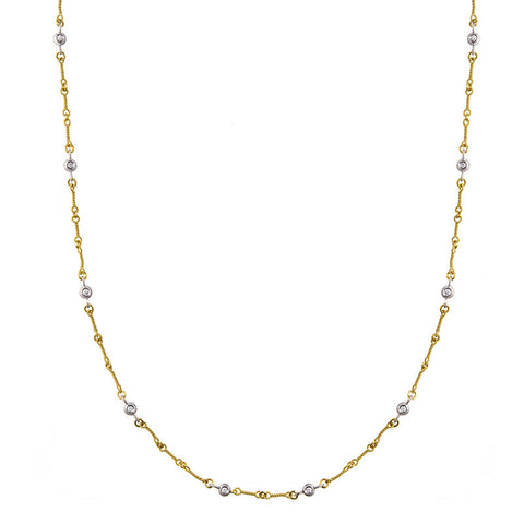 Gold Link Necklace with Paved Diamond Links